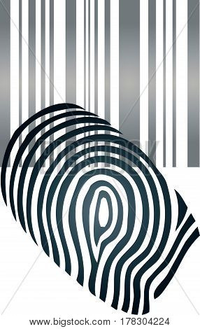 Fingerprint and barcode, Internet and Security logo