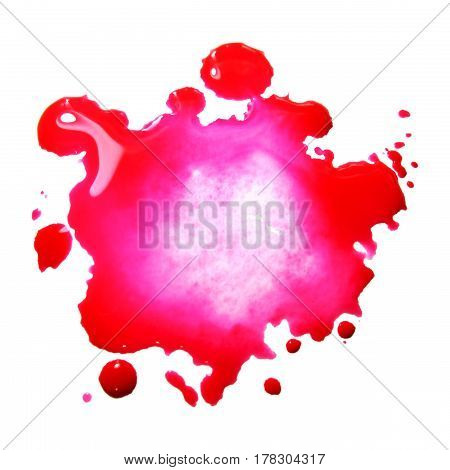 Watercolor pink spot blot blob isolated macro photo