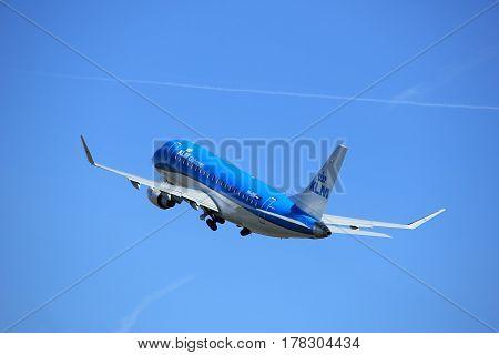 Amsterdam the Netherlands - March 25th 2017: PH-EXK KLM Cityhopper Embraer ERJ-175 takeoff from Polderbaan runway.