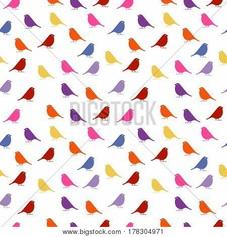 Birds. seamless baby background with colour birds