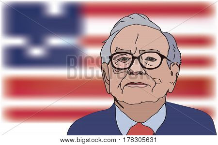 March, 2017: Investor and economist Warren Buffett forecasts stocks maket changes will continue to rise. Warren Buffett portrait on US flag background, vector illustration.
