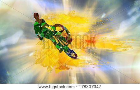 Bicycle jumper, sport illustration