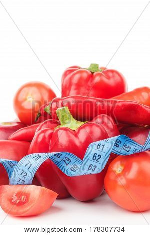 Set From Red Bell Pepper, Red Hot Chili Pepper And Apple With Measuring Tape
