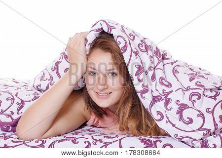 Morning awakening beautiful woman smiling at the new day