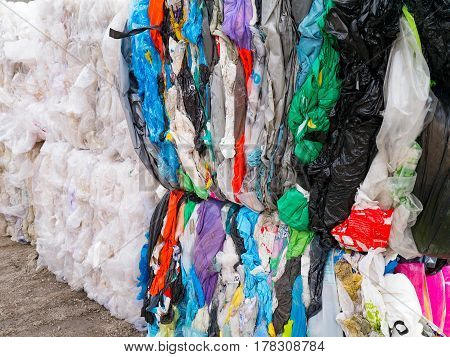 Plastic bags prepared for recycling. plastic bag with Polyethylene for recycling