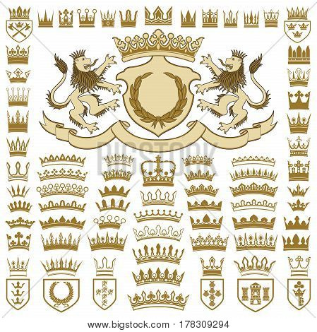 Heraldic crests and crowns collection. Crest with lions.
