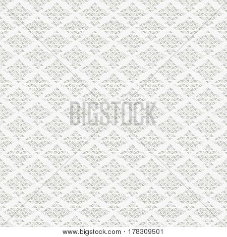 Abstract seamless pattern with grey rhombuses from small triangles on white background