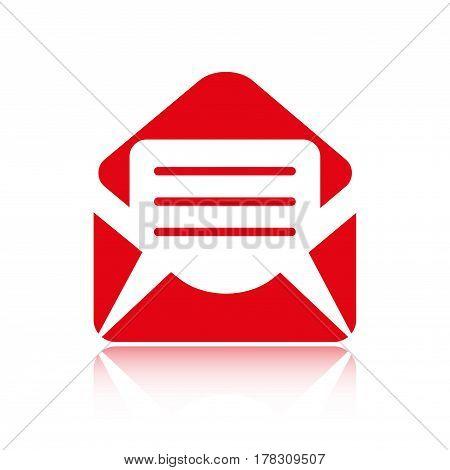 Open envelope mail icon, vector illustration. Flat design style
