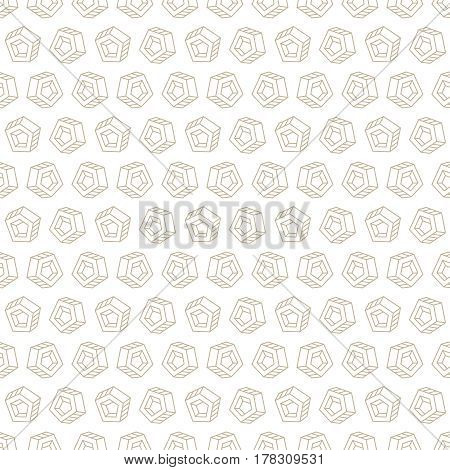 Seamless pattern with abstract brown objects on white background
