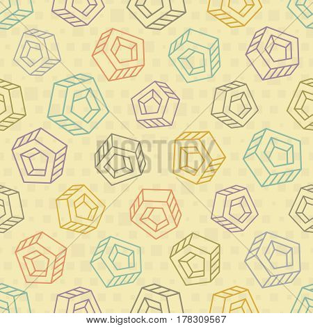 Seamless background with big abstract multicolored objects on beige backdrop