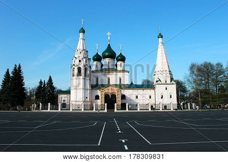 Russia. Yaroslavl. UNESCO zone. White Ilya Prophet church on blue sky background. Horizontal view.