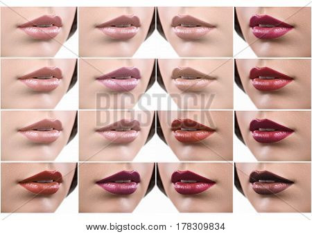 Romantic colors. Collage of close up shot of sexy plump female lips covered with different lipsticks and lip glosses sexuality seduction beauty cosmetics