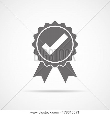Gray approved icon in flat design. Check mark on light background. Vector illustration.