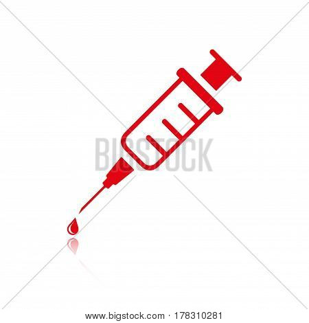 Injection syringe flat icon vector for medical apps and websites