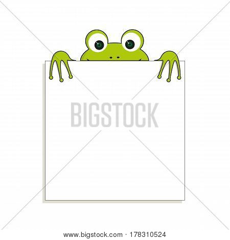 Isolated green frog with white paper. Has place for any text. Can use for note or blank.