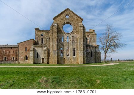 Ancient abbey of San Galgano in Tuscany Italy. It located about thirty kilometers from the medieval city of Siena