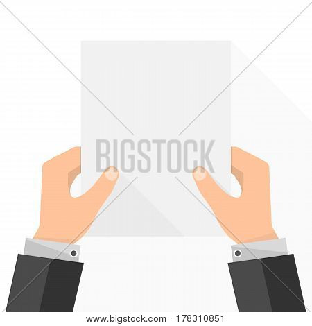 Empty white paper list in the hands. Vector illustration. Businessman in hands holding paper empty mockup.