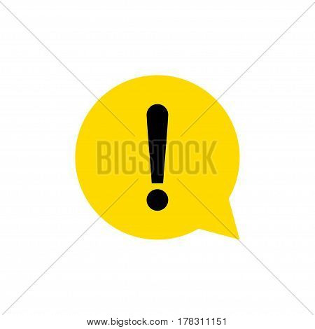 Yellow exclamation mark sign. Round hazard warning symbol. Vector Icon