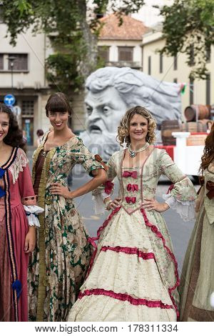 FUNCHAL MADEIRA PORTUGAL - SEPTEMBER 4 2016: Madeira Wine Festival - Historical and Ethnographic parade in Funchal on Madeira. Portugal