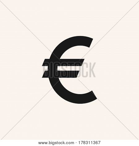 Euro sign vector icon. Euro currency symbol. on white background. EUR.
