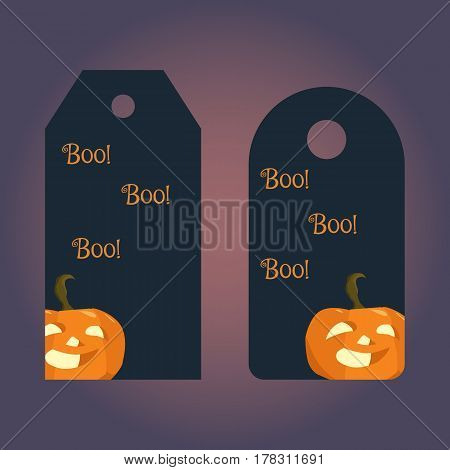 Label, badge, price tag with the image of symbol of Halloween pumpkin. Illustration in hand drawing style.