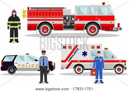 Detailed illustration of fireman, emergency doctor, police officer with fire truck, ambulance and police car in flat style on white background.
