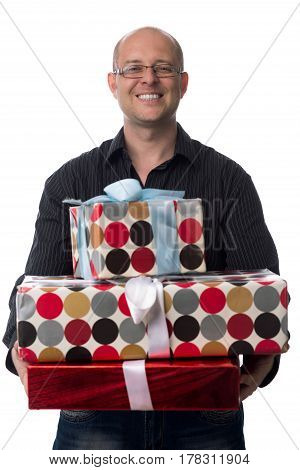 caucasian guy gives a gift isolated on white background