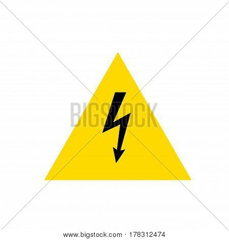 High Voltage Sign. Black arrow in yellow triangle. Vector icon