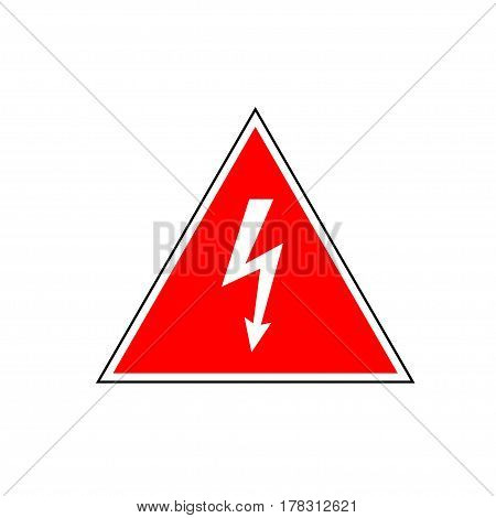 High Voltage Sign. White arrow in red triangle framed by a black and white lines. Vector icon