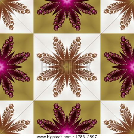 Two-tone seamless pattern with floral star and square ornament.