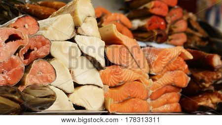 Farmer's market -  assortment fish salted and smoked red and white (salmon, balyk)