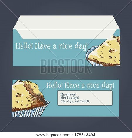 envelopes for letters, front and back. Drawing muffin, vector illustration