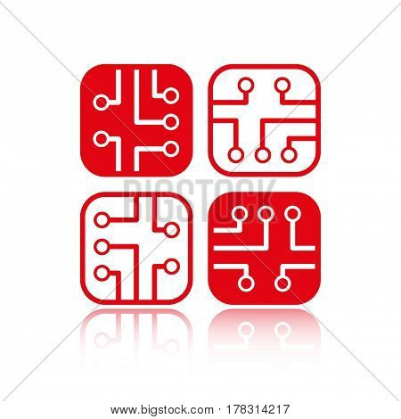 circuit board icon stock vector illustration flat design