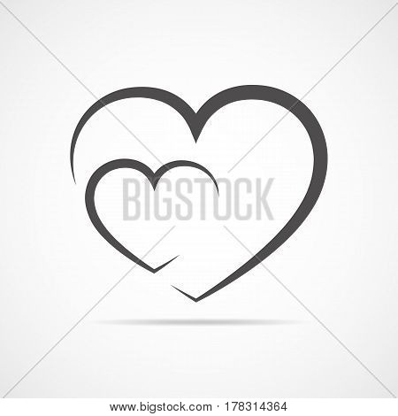 Abstract hearts shape outline. Vector illustration. Black hearts icon in flat style. The heart as a symbol of love.