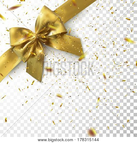 Golden Bow And Ribbon With Sparkling Confetti Glitters On Checkered Transparent Background. Vector Holiday Illustration. Realistic Isolated Decoration Element For Design