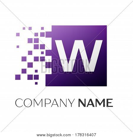 Letter W vector logo symbol in the colorful square with shattered blocks on white background. Vector template for your design
