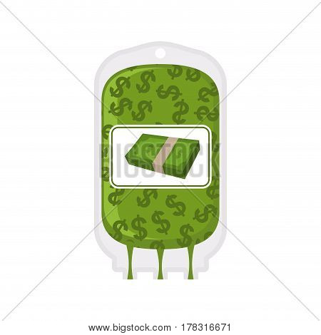 Donation Money Bag On White Background. Transfusion Of Cash Finances. Business Illustration