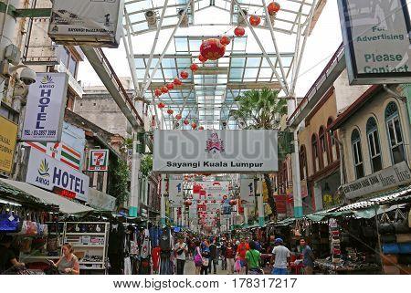 KUALA LUMPUR, MALAYSIA - August 17, 2015: Kuala Lumpur Chinatown.