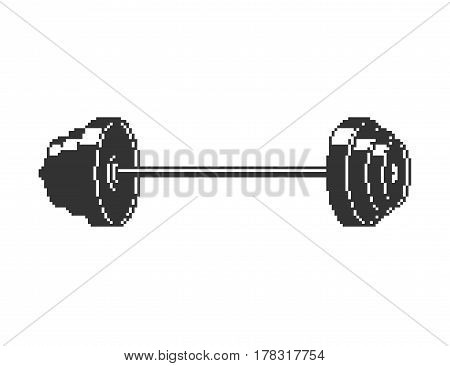 Barbell Pixel Art. 8 Bit Sport Object Isolated