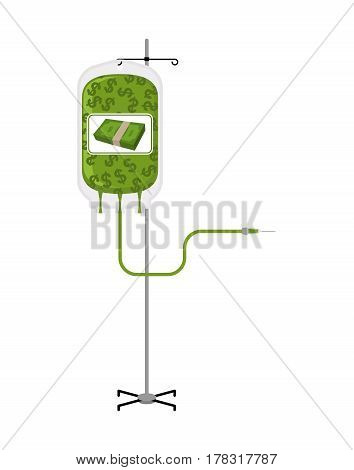 Donation Money Bag On Drip Stand. Transfusion Of Cash Finances. Business Illustration