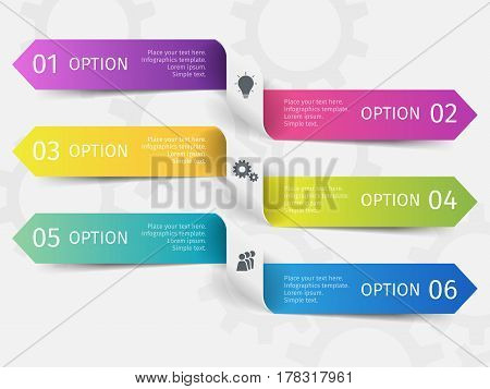 Modern ribbons for business infographics. Vector template with 6 steps, parts, options, stages