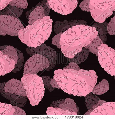Brain Seamless Pattern. Human Brains 3D Background.