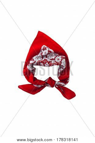 Red Kerchief Bandana With A Pattern, Isolated
