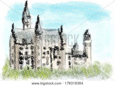 Neuschwanstein castle in abstract multicolor vector illustration