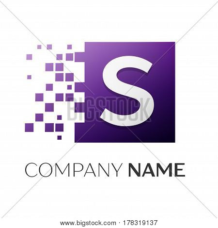 Letter S vector logo symbol in the colorful square with shattered blocks on white background. Vector template for your design