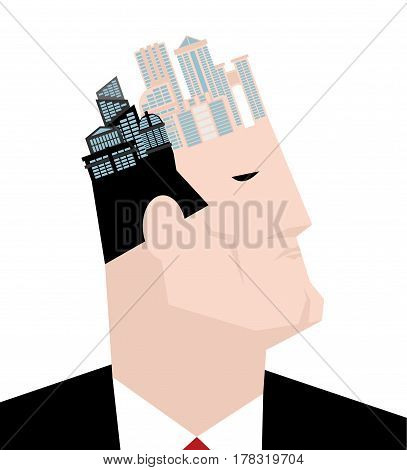 Mayor Of City. Head And Buildings. Thinks Of Town