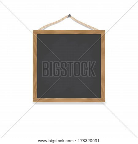 A square wooden chalkboard hangs on a nail on a rope. Board for a menu or drawing. Vector illustration.