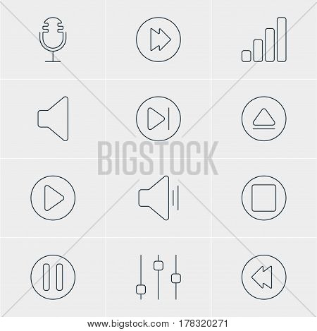 Vector Illustration Of 12 Melody Icons. Editable Pack Of Lag, Acoustic, Mike And Other Elements.