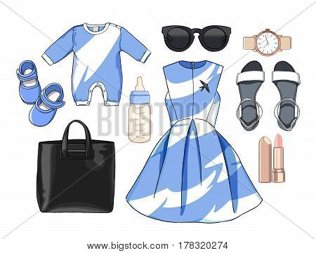 Illustration stylish and trendy clothing. Family Look. Mother with baby. Dress, bag, accessories, sunglasses, overalls, baby, newborns, clothes for children, a bottle of milk, booties.