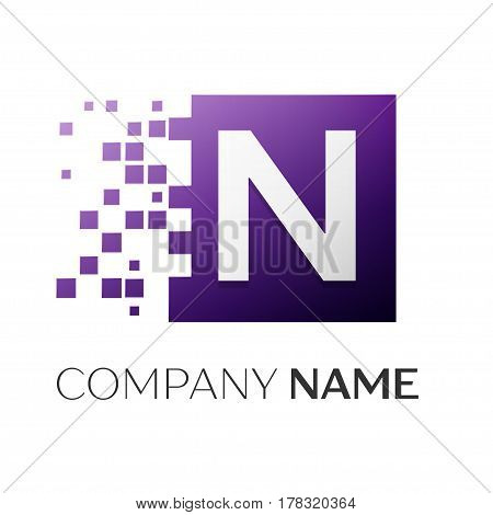 Letter N vector logo symbol in the colorful square with shattered blocks on white background. Vector template for your design